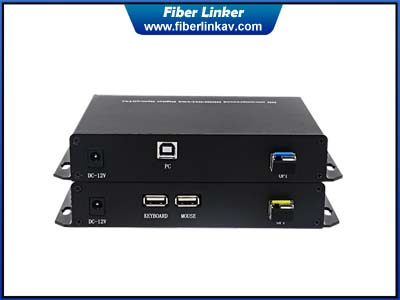 DVI KVM Fiber Converter with keyboad and mouse