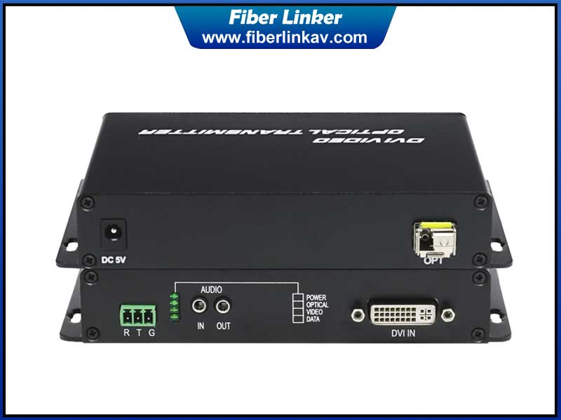 DVI Fiber Converter with bidirectional audio and RS232
